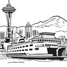 An image of the Seattle skyline with a ferry boat, the Space Needle, and Mount Rainier in the view